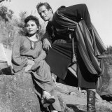 Actors Haya Harareet and Charlton Heston During the Making of the Film Ben Hur in Rome, 1958 Photographic Print