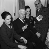 Charlie Chaplin with His Wife, Daughter Geraldine and Bud Flanagan of the Crazy Gang, 1961 Photographic Print