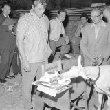 American Film Actor Robert Mitchum Watches a Goat Eats His Birthday Cake at His 41st Birthday, 1958 Photographic Print