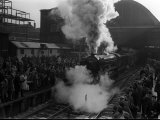 Steam Train the Flying Scotsman Leaving a Station, January 1963 Photographic Print