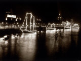 Boats in Lights on the River, Festival of Britain Photographic Print