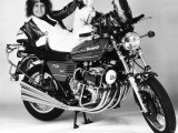 Marc Bolan with Benelli 750 Motorbike, 1976 Fotografisk tryk