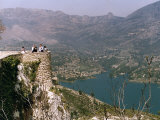 Veiwing Platform Over Looking Lake and Mountains Guadalest Benidorm Spain Photographic Print
