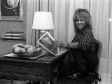 Singer Tina Turner on Tour Photographed in Her Hotel Room in Paris Reproduction photographique