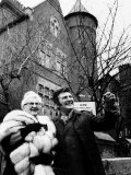 Liberace with Mother Outside Castle Styled House in Kensington Photographic Print