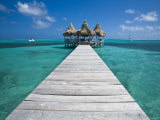 Belize, Ambergris Caye, San Pedro, Ramons Village Resort Pier and Palapa Photographic Print by Jane Sweeney