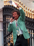 Cliff Richard Greets Crowds Gathered at Buckingham Palace, 1995 Photographic Print