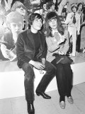 Christine Shrimpton with David Bailey Sitting in Front of Photographic Montage, March 1967 Photographic Print