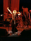 Debbie Harry Singer and Leader of Pop Group Blondie Performing on Stage Lámina fotográfica