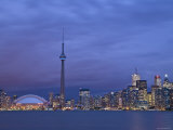CN Tower and Toronto Skyline at Dusk, Toronto, Ontario, Canada Photographic Print by Michele Falzone