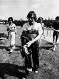 Bay City Rollers Band Members Including Alan Longmuir Stand by Swimming Pool Photographic Print