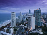 Australia, Queensland, Gold Coast, Surfer's Paradise, Evening View of Surfer's Paradise Highrises Photographic Print by Walter Bibikow