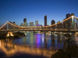 Australia, Queensland, Brisbane, Story Bridge with Riverside Centre Highrises Photographic Print by Walter Bibikow