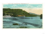Binghamton, New York - View of Chenango River and Dam Prints