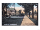Binghamton, New York - Residential Scene on Riverside Drive Prints by  Lantern Press