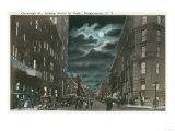 Binghamton, New York - Northern View of Chenango Street at Night Prints by  Lantern Press