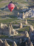 Hot Air Balloon Flight over Volcanic Tufa Rock Formations, Goreme, Cappadocia, Anatolia, Turkey Photographic Print by Gavin Hellier