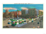 Buffalo, New York - View of Lafayette Square and Main Street Prints by  Lantern Press
