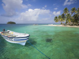 Panama, Comarca de Kuna Yala, San Blas Islands, Kuanidup Grande, Boat and Tropical Island Photographic Print by Jane Sweeney