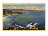 Laguna Beach, California - Aerial of the Coves Along the Coast Prints