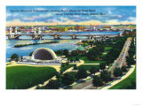 Boston, MA - Aerial View of Hatch Memorial Band Shell, Charles River Prints