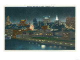 Buffalo, New York - View of Buffalo Skyline at Night Art by  Lantern Press