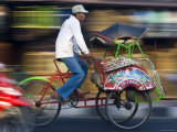 Rickshaw Driver, Yogyakarta, Java, Indonesia Photographic Print by Peter Adams