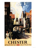 Chester, England - Street View with Couple and Tower Clock Rail Poster Prints by  Lantern Press