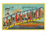 Bakersfield, California - Large Letter Scenes Prints by  Lantern Press