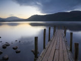 Tranquil Landscape and Pier, Derwent Water, Lake District, Cumbria, England Photographic Print by Peter Adams