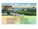 Cape Cod, Massachusetts - Scenic View of Homes with a Poem Prints