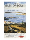 Isles of Scilly, England - Aerial Scene of Town and Dock Railway Poster Prints