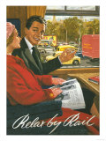Great Britain - British Railways Relax by Rail Poster Prints by  Lantern Press
