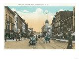 Binghamton, New York - Western View of Court Street Prints by  Lantern Press