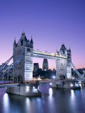 Night View of Tower Bridge and Thames River, London, England Photographic Print by Steve Vidler