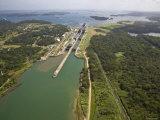 Panama, Panama Canal, Container Ships in Gatun Locks Fotografiskt tryck av Jane Sweeney
