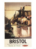 Bristol, England - Clifton Suspension Bridge and Boats British Rail Poster Prints by  Lantern Press