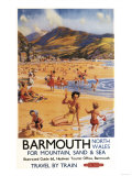 Barmouth, England - Beach Scene Mother and Kids British Rail Poster Art