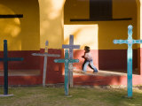 Young Girl and Indian Crosses, San Cristobal de Las Casas, Chiapas Province, Mexico Photographic Print by Peter Adams