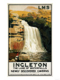 Ingleton, England - Spectators Climb on Waterfall Railway Poster Prints