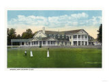Bridgeport, Connecticut - Exterior View of Brooklawn Country Club, Women Golfing Art