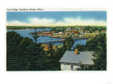 Boothbay Harbor, Maine - View of the Foot Bridge Prints by  Lantern Press