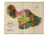 Hawaii - Panoramic Maui Island Map Prints by  Lantern Press