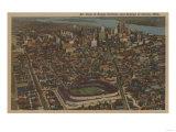 Detroit, MI - Aerial Briggs Baseball Stadium Prints