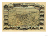 Bakersfield, California - Panoramic Map Prints by  Lantern Press