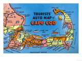 Cape Cod, Massachusetts - Detailed Auto Map of Cape Cod Prints