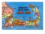 Cape Cod, Massachusetts - Detailed Auto Map of Cape Cod Prints by  Lantern Press