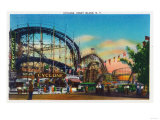 Coney Island, New York - View of the Cyclone Rollercoaster No. 1 Prints by  Lantern Press