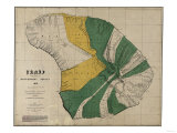 Hawaii - Panoramic Lanai Island Map Prints