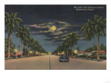 Hollywood, FL - Moonlight View over Hollywood Blvd. Prints by  Lantern Press